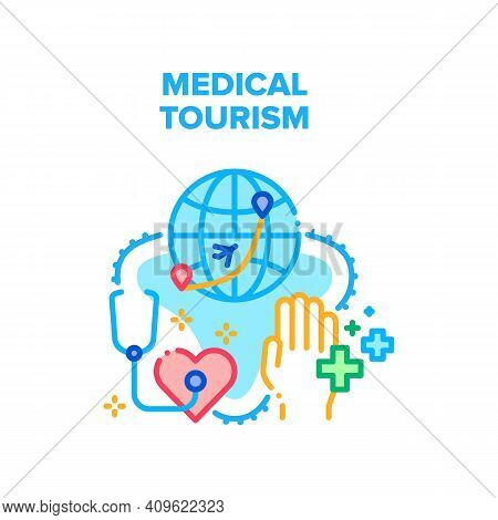 Medical Tourism Vector Icon Concept. International Medical Tourism And Insurance For Health Care For