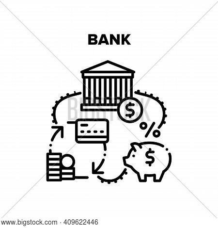 Bank Financial Vector Icon Concept. Commercial Bank Building For Servicing Client For Safe Money Fin