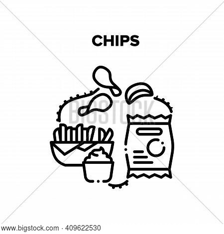 Chips Snack Vector Icon Concept. Fried Potato Chips Plate And Bag Package, Sauce For Eating Deliciou