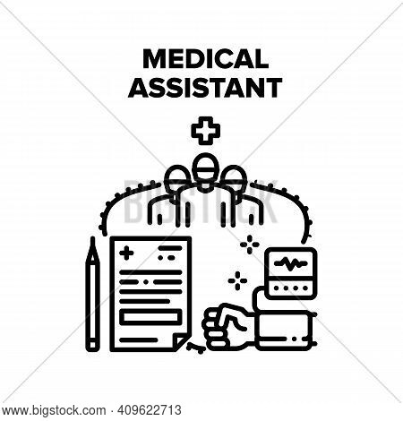 Medical Assistant Help Vector Icon Concept. Medical Assistant Examining And Checking Patient Blood P