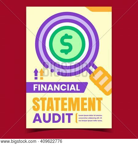 Financial Statement Audit Promo Banner Vector. Finance Audit Researching Advertising Poster. Company