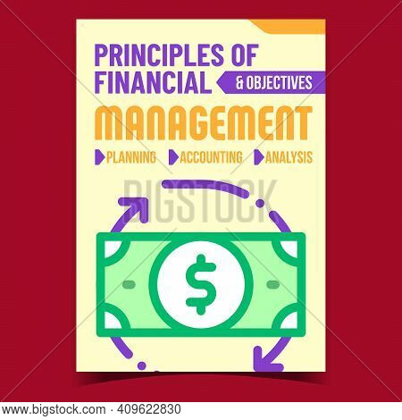 Management Creative Promotional Banner Vector. Principles And Objectives Of Financial Management, Pl