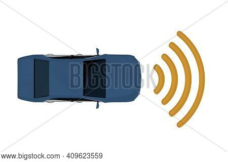 3d Illustration Of An Autonomous Car With Symbolic Laser Waves, Isolatet On White.