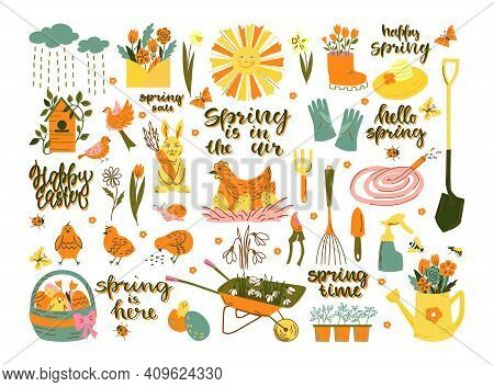 Spring Set. Happy Easter With Rabbit, Eggs, Chicken, Inscriptions. Hello Spring With Garden Items. V
