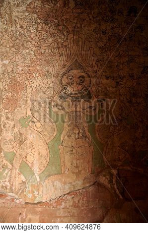 Ancient Ruin Fresco Mural Drawing And Painting On Wall Of Sulamani Temple For Burmese And Foreign Tr