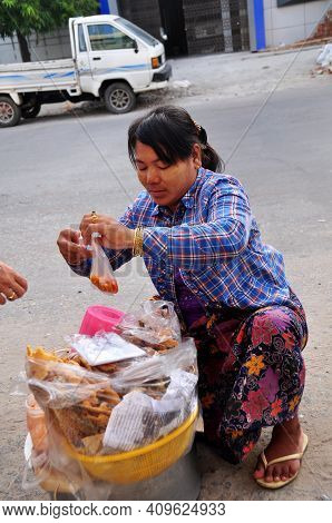Burmese Woman Vendor Sale Products Food For Burma People And Foreign Travelers Walking Select And Bu