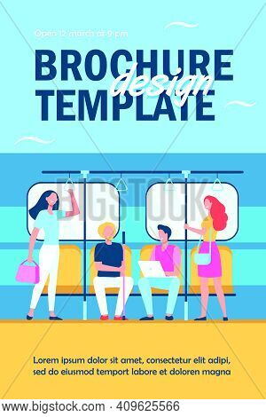 People Traveling By Subway Or Underground Flat Vector Illustration. Cartoon Sitting And Standing In