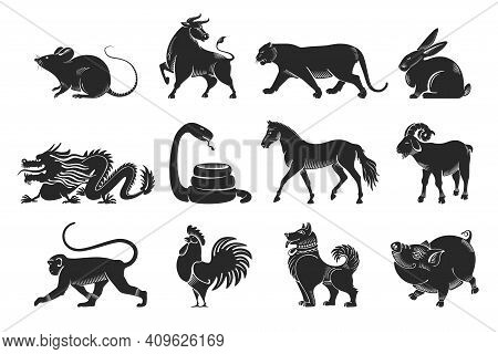 Chinese Zodiac Signs Set. The Set Consists Of Twelve Animal Silhouettes Drawn In A Graphic Or Engrav