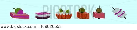 Set Of Appetizer Cartoon Icon Design Template With Various Models. Modern Vector Illustration Isolat