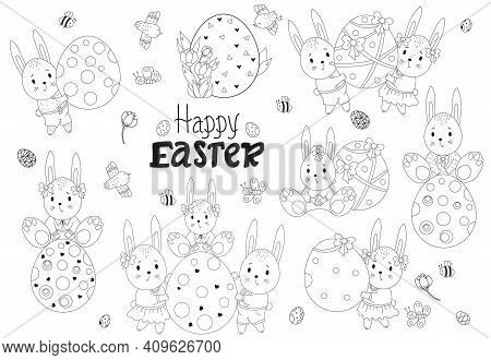 Vector Easter Collection With Cute Easter Bunnies. A Family Of Bunnies With A Large Easter Egg, Kids