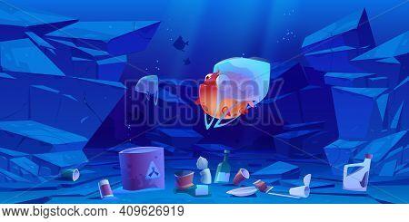 Puffer Fish In Plastic Bag Underwater In Sea Or Ocean. Ocean Pollution By Trash, Global Littering. V