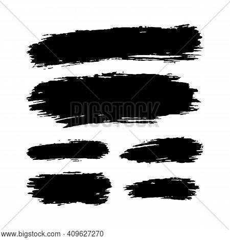 Hand Drawn Vector Paint Spots, Black Ink Brush Strokes Set. Grungy Artistic Paint Blobs Highlights B