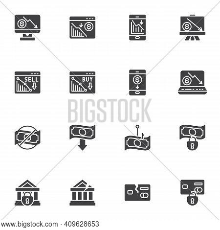 Financial Crisis Vector Icons Set, Business Problem Modern Solid Symbol Collection, Bankruptcy Fille