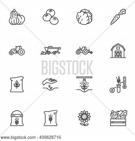 Agriculture And Farming Line Icons Set, Outline Vector Symbol Collection, Linear Style Pictogram Pac