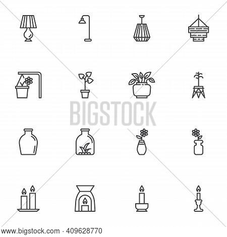 Home Decor Line Icons Set, Outline Vector Symbol Collection, Linear Style Pictogram Pack. Signs, Log