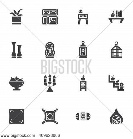 Furniture And Home Decor Vector Icons Set, Modern Solid Symbol Collection, Filled Style Pictogram Pa