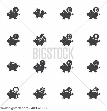 Piggy Bank And Money Vector Icons Set, Modern Solid Symbol Collection, Filled Style Pictogram Pack.