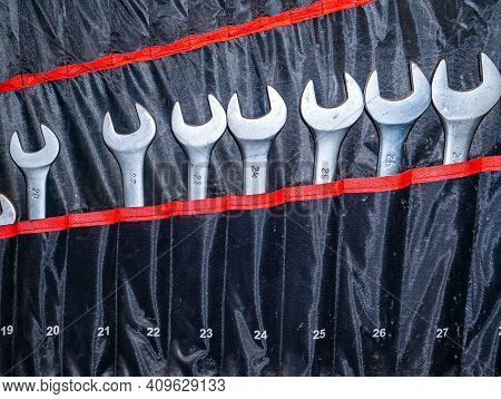 A Set Of Metal Wrenches In A Black Case. Iron Wrench. Tool Kit. Car Repair. Master Equipment. Servic