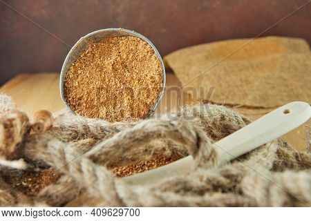 Teff, Gluten-free Alternative To Ancient Grains, Is Popular Choice For Healthy Diet. Burlap And Wood