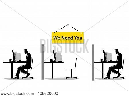 Vector Illustration Of Two People Working On The Computers With One Empty Desk. Job Vacancy, New Rec