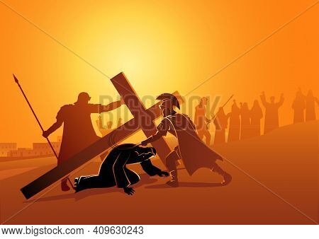 Biblical Vector Illustration Series. Way Of The Cross Or Stations Of The Cross, Ninth Station, Jesus