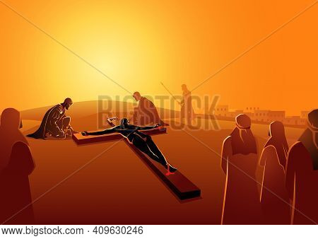 Biblical Vector Illustration Series. Way Of The Cross Or Stations Of The Cross, Eleventh Station, Je