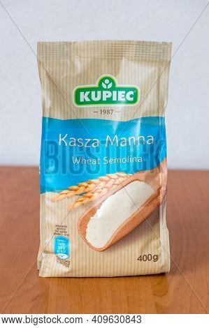 Deblin, Poland - February 16, 2021: Pack Of Kupiec Wheat Semolina.