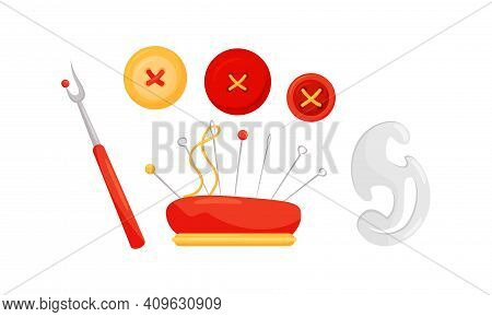 Sewing And Tailoring Accessories With Seam Ripper And Cushion With Pins Vector Set