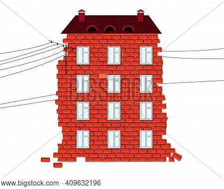 Old Brick House With A Tiled Roof, Chimney And Electrical Wires. Isolated On White Background