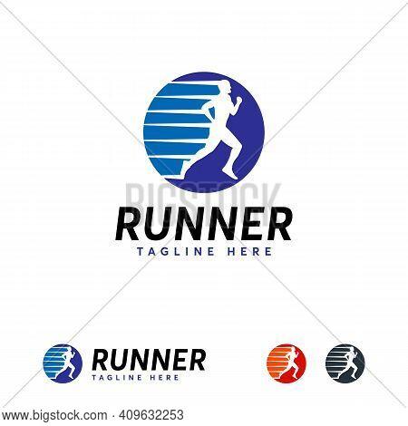 Iconic Runner Logo Designs Vector, Running Man Sport Logo Template