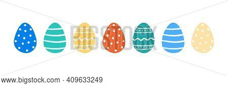 Set, Collection Of Cute Cartoon Style Vector Easter Egg Decorated With Dots, Stripes, Ornaments. Eas