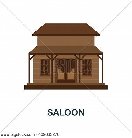 Saloon Flat Icon. Color Simple Element From Wild West Collection. Creative Saloon Icon For Web Desig