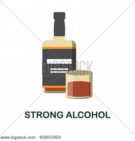 Strong Alcohol Flat Icon. Color Simple Element From Wild West Collection. Creative Strong Alcohol Ic