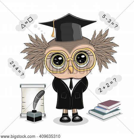 Vector Illustration Of A Smart Owl With Glasses, A Teacher And A School. Student Inkwell, A Quill An