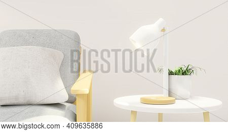 Minimal Interior Design Room With Sofa, Low Table, Decoration Plant And Japan Style Design Set The T
