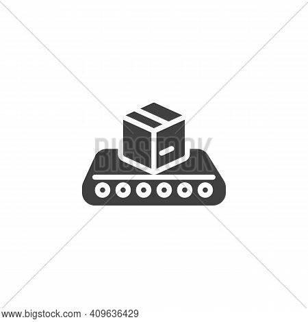 Conveyor Belt With Box Vector Icon. Filled Flat Sign For Mobile Concept And Web Design. Cargo Logist