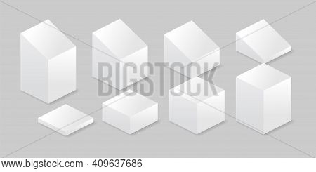 Isometric Stand Set Vector Illustration. Isometric Set Of Promotional Stands Or Exhibition Standards