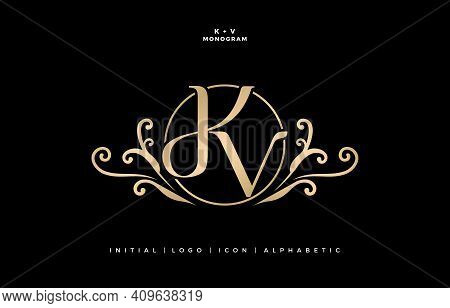 Kv Or Dkv Initial Letter And Graphic Name, Kv Monogram, For Wedding Couple Logo, Logo Company And Ic