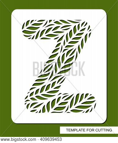 Stencil With The Letter Z Made From Leaves. Eco Sign, Icon, Logo For Organic, Natural Products. Plan