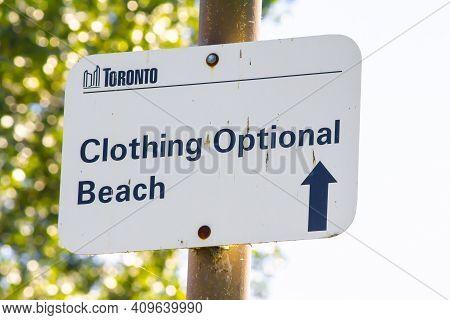 Ontario, Canada, Toronto. Feb 20 , 2021. A Clothing Optional Beach Sign In Lake Ontario.