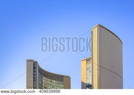 Toronto, Ontario, Canada. Feb, 20, 2021. City Hall Top Building Ontario, Canada