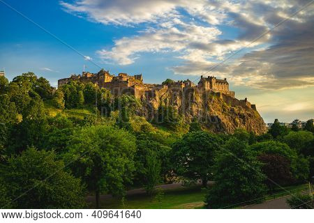 Edinburgh Castle And Princes Park At Edinburgh, Scotland, Uk