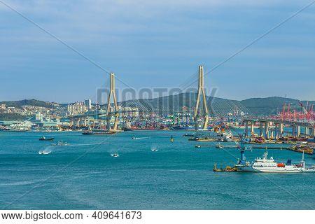 Busan Harbor And Bridge In Busan Metropolitan City, South Korea