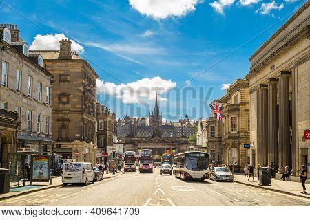 July 5, 2018: Facade Of The Royal Scottish Academy From Hanover Street In Edinburgh, Scotland, Uk. R