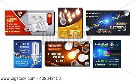Electrical Work Promotional Posters Set Vector. Electrical Service And Maintenance For Installation