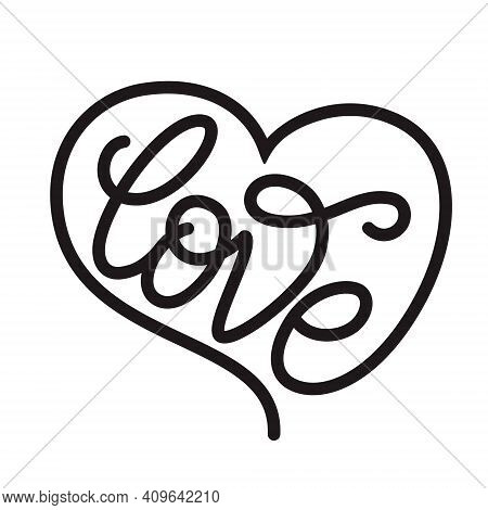 Love. Hand Lettering Wird In A Heart Shape Isolated On White Background. Vector Typography For Pins,