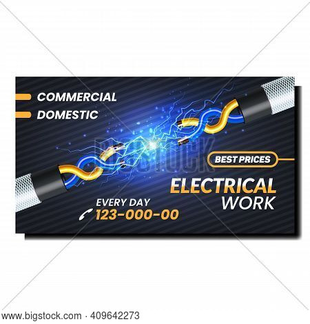Electrical Work Best Prices Promo Banner Vector. Electrical Repairman Job For Repair And Connection