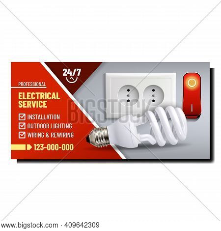 Electrical Repair Service Promotion Poster Vector. Professional Service For Installation Socket And
