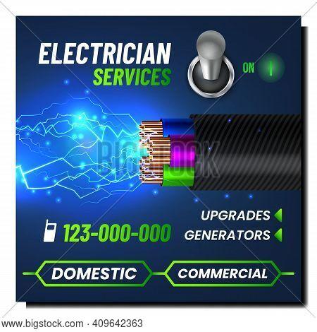 Electrician Services Creative Promo Poster Vector. Electrician Cord, Splashing Electrical Lightning