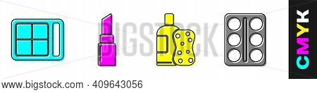 Set Eye Shadow Palette, Lipstick, Bottle Of Shampoo And Sponge And Eye Shadow Palette Icon. Vector